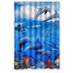 "Custom Dolphin Waterproof Window Curtain Home Decoration Curtains Standard Size 52"" x 72""(One Piece)"