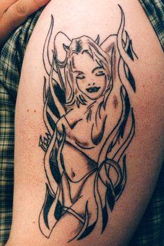 Photos - Tattoo Pictures Gallery Dark Evil Devil Demon Tattoos Page Angel Devil Tattoo, Demon Tattoo, Fire Tattoo, Angel And Devil, Evil Tattoos, Body Art Tattoos, Tribal Tattoos, Tatoos, Angel Tattoo Designs