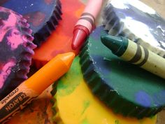Make your own confetti crayons. #diy #crayons