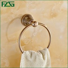 (32.40$)  Buy here  - FLG High Quality Wall Mount Towel Ring/Towel Holder Aluminum Alloy Rose Gold plated Jade Body Bathroom Accessories Products G105