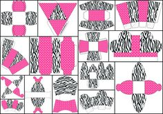Cebra y Rosa: Cajas para Imprimir Gratis.