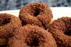 #paleo Gingerbread Donuts: ½ cup coconut flour; 2 Tbsp ground ginger; 1 Tbsp cinnamon; ½ tsp ground cloves; ½ tsp salt; 1 tsp baking powder; 2 Tbsp butter, melted; 2 eggs; 2 Tbsp maple syrup; 3 Tbsp molasses; ¼ cup coconut milk | COATING: 2 Tbsp butter; ¼ cup coconut palm sugar; 1 Tbsp cinnamon