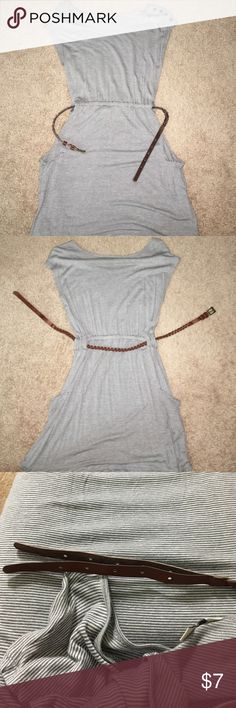 Grey & white striped dress Previously worn. Good condition except for faux leather belt coming undone. Probably easily fixed with glue or substituted with another belt. Forever 21 Dresses