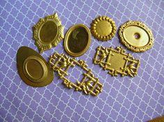 Stone Base Lot  Brass Stampings  Brass Findings by 2VintageGypsies