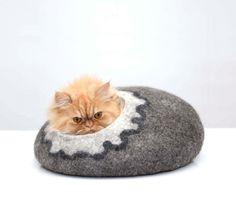 cuccia letto per gatti lana grigio bianco di Storow su Etsy