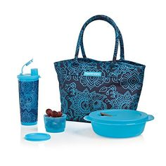 Tupperware Caspian Flora Lunch Set - Make convenience food a thing of the past. Join the hottest trend in food and pack a healthy, homemade meal in this stylish set. Includes insulated bag Q, CrystalWave® 4¼-cup/1.1 L Round, 4-oz./120 mL Snack Cup and 16-oz./470 mL tumbler with liquid-tight seal and flip-top spout.