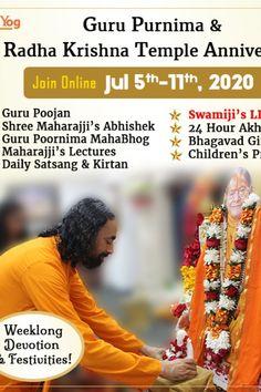 Radha Krishna Temple, Guru Purnima, Third Anniversary, Get Closer To God, International Festival, Motivational Videos, Transform Your Life, Infinite, Gratitude