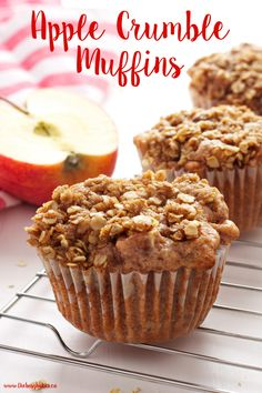 These Apple Crumble Muffins are the perfect easy muffin recipe for apple lovers! They taste just like Grandma's apple crumble! Recipe from thebusybaker.ca!