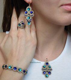 ref 009 colgante, pendiente,anillo y pulsera sabrina Soutache Bracelet, Soutache Jewelry, Beaded Jewelry, Beaded Necklace, Tatting Jewelry, Paper Jewelry, Fabric Jewelry, Modern Jewelry, Boho Jewelry