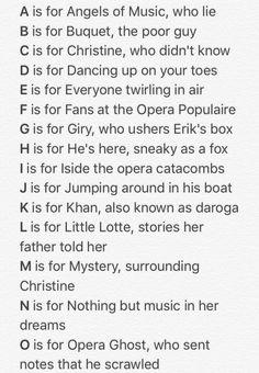 The Phantom of the Opera Alphabet Part 1