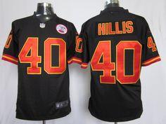 Men's Nike NFL Kansas City Chiefs #40 Peyton Hillis Black Alternate Stitched Game Jerseys