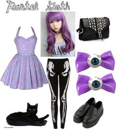 Pastel goth. To recreate this outfit, you must have a cat, preferably black, at your ready to wear.