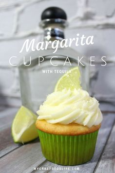 Margarita Cupcakes with tequila frosting? These are hands-down my favorite cupcakes. Can easily be made without alcohol. Margarita Cupcakes, Margarita Tequila, Alcohol Infused Cupcakes, Margarita Recipes, Tequila Cake, Tequila Recipe, Desserts With Alcohol, Liquor Cupcakes, Gourmet