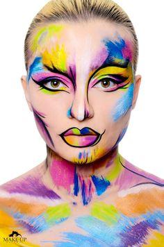 FASHION COLOR - MAKE-UPNATURAL Punk Makeup, Fx Makeup, Crazy Makeup, Color Make, Circus Makeup, Fantasy Make Up, Fantasy Hair, Art Visage, Media Makeup