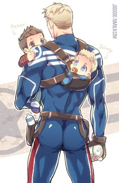 """Stitching The Night Away: Photo  Superfamily<<<< at first I was all, """"awwww"""", but then I was all, """"OHMIGOD, Steve's butt is perfect""""...."""