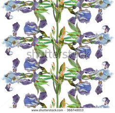 Seamless Pattern Watercolor Artwork Hand Drawn Irises Tree Kaleidoscope Blue  - stock photo