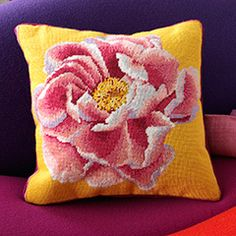 Coral Peony on Yellow - Ehrman Tapestry