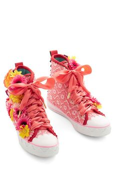 Flower Fanatic Sneaker. If youre a botanical enthusiast, youll go bonkers over the faux flowers forming garden spreads upon these hi-top sneakers by Irregular Choice's Gold Label! #pinkNaN