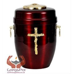 Red Metal Cremation Urn for Ashes - Gold Cross. Funeral Urn For Adult...