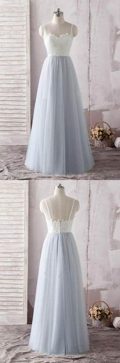 Simple Ivory Lace Blue Spaghetti Straps Sweetheart Tulle Long Prom Dress, M259 #Promdresses #Prom #Partydresses #Gownsprom #Eveningdresses #Simidress
