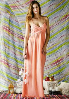 This pearl ruched maxi dress features ruched bodice, pleated skirt and a V neckline with adjustable shoulder straps. | Lookbook Store What's New