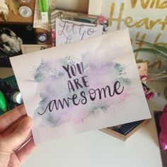 Tombow Brush Pen Splatter Card #tombow #tombowusa #youareawesome