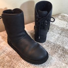 UGG Black Leather Lace up Boots UGG Black Leather Lace up Boots Gorgeous Boot with Basketweave Leather Design with Leather Lace Ups With Silver UGG Logo Tips!  In wonderful condition!  Fully Lined! UGG Shoes Winter & Rain Boots