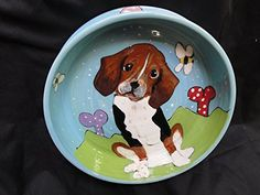 Beagle 8 Ceramic Dog Bowl for Food or Water Personalized at no Charge Signed by Artist Debby Carman *** Check out this great product.