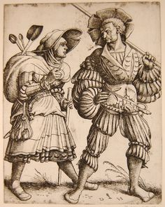 1505-26 Daniel Hopfer - The cook and his wife; reverse copy after Erhard Schön ; the lansquenet walking to right with a lance, the wife carrying a satchel with cooking implements