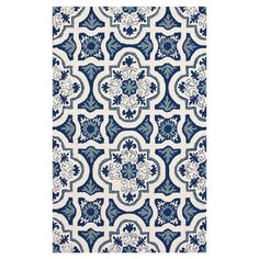 navy mahal tile motif rug