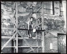 File:Aline H. Rhonie, American painter, 1909-1963, at work on aviation mural at Roosevelt Field, Garden City, New York.jpg