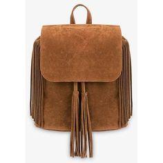 Yoins Khaki Fringe Backpack with Foldover Flap ($27) ❤ liked on Polyvore featuring bags, backpacks, backpack, yoins, accessories, handbags, black, rucksack bag, drawstring bag and knapsack bag