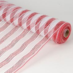 Holiday Deco Mesh - Red and White Striped