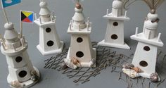 Lighthouse Wooden Bird Houses, Table Numbers,shabby Chic Decorations, In Your…