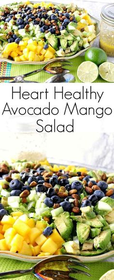 Heart Healthy Avocado Mango Salad With Lime Poppy Seed Vinaigrette is a brightly flavored and satisfying salad. It makes a delicious dinner all by itself. | Kudos Kitchen by Renee