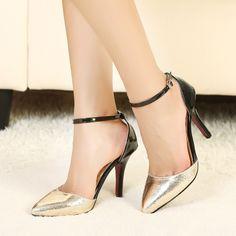 2014 Club Heels Print High heel cusp silver golden Pumps women $34.60