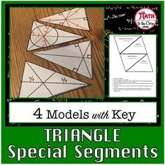 Triangle Special Segments ModelThis product is a part of this Triangle Special Segments BundleDetailed instructions are included to create models of 4 triangles with special segments and their with points of concurrency. Great for an interactive notebook. Geometry Interactive Notebook, Teaching Geometry, Interactive Notebooks, Fun Math, Math Activities, Geometry Constructions, Geometry Triangles, Models, Classroom Ideas