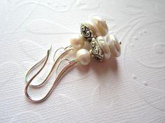 White Freshwater Pearl Earrings Wedding Bridal by LeanneDesigns, $10.00 Pearl Earrings Wedding, Shop Sale, White Freshwater Pearl, Spring Sale, Fresh Water, Beading, Stud Earrings, Bridal, Awesome