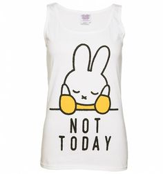 When you're having one of those days when you just wish the world would go away, this will be your new favourite wardrobe go to! That's right, treat yourself to our exclusive #Miffy #Vest and when you're having a bad day, it's no nonsense slogan will do the talking for you. Featuring a classic print of #DickBruna's classic creation on our slim fit, white tank vest, it reads 'Not Today.' That's us told! #fashion #clothing #top #cute #rabbit #bunny