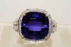 """$57,000 24.14Ct """"AAA"""" Tanzanite,Yellow & White Diamond Ring 18K VS"""