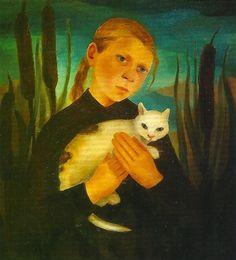 Kind mit Katze | oil painting, 50's | KateDiehn-Bitt