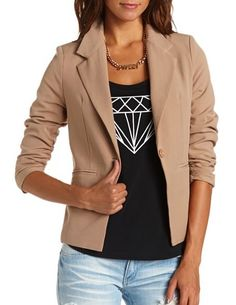 Basic Ruched Sleeve Blazer: Charlotte Russe