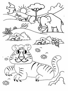 Lavoretti da stampare per bambini Unisci i punti. Per età prescolare 116 Zoo Animals, Worksheets, Activities For Kids, Snoopy, Kids Rugs, Teaching, Education, Cool Stuff, Children