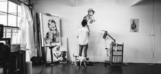The Artist in His Studio. B&W Photo. An Exploration of Humanity Through Pencil Drawings. By Joel Daniel Phillips.