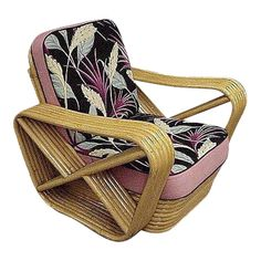 For Sale on - Designed in the manner of Paul Frankl, this six-strand, rattan lounge chair features square pretzel arms and a classic stacked base. Custom cushions C. Bamboo Furniture, Art Deco Furniture, Cool Furniture, Steel Furniture, Antique Furniture, Tropical Furniture, Oriental Furniture, Accent Furniture, Rustic Furniture