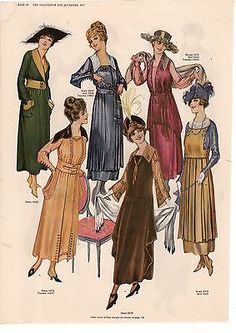 1917 Delineator Print - Winter Coats and House Dresses - 12 color images