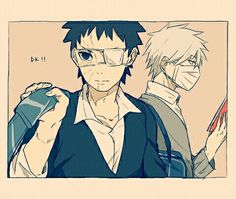 Got to get to class, just heard the bell!  Obito and Kakashi from Naruto!