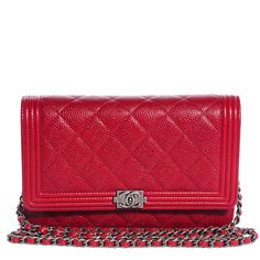 Fashionphile - CHANEL Caviar Quilted Boy Wallet On Chain WOC Red