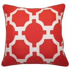 """Outdoor pillow with latticework detail in pumpkin.    Product: PillowConstruction Material: PolyesterColor: White and pumpkinFeatures:  Insert includedSuitable for indoor or outdoor use Dimensions: 18"""" x 18"""" Cleaning and Care: Spot clean"""