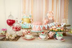 Pastel Pink, Aqua, and Yellow Dessert Display | Maru Photography | See More: http://heyweddinglady.com/sweeter-than-candy-retro-valentines-day-styled-shoot-in-pastel-hues-from-maru-photography/